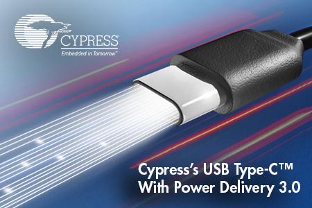赛普拉斯率先推出支持USB Power Delivery 3.0的 USB-C™ 解决方案