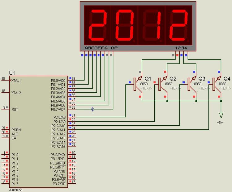 四位数码管显示2012的汇编语言与C语言