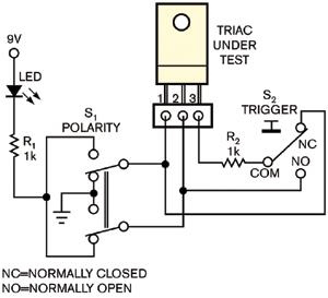 图1双向可控硅测试仪用一只开关转换测试信号的极性