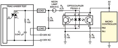 图4一只光耦将双向可控硅与大地隔离开来