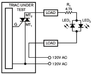 图2对于阻性负载测试仪用两只LED指示两个方向的成功与失败