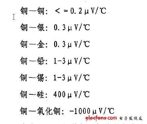 不同材料导体之间接触时的热电势常数