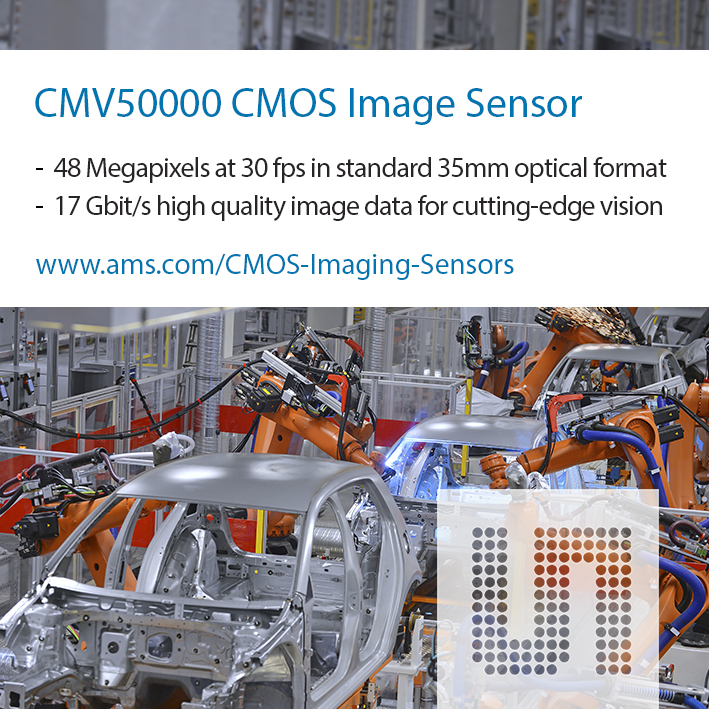 CMOSIS推出业内首款全局快门48M像素CMOS图像传感器