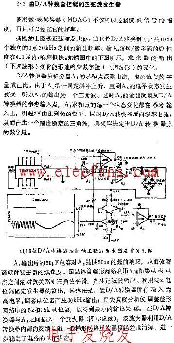 由DA转换器控制的正弦波发生器电路图