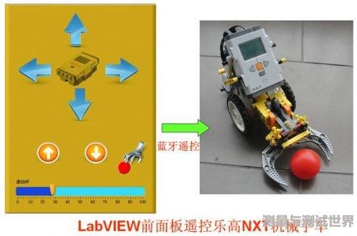 用LabVIEW前面板遥控乐高NXT机械手车