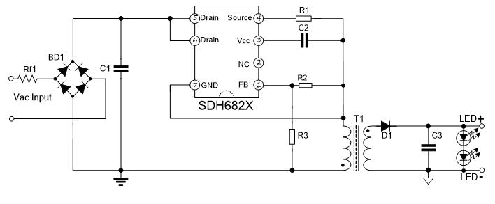 士兰微电子推出高PF隔离SDH682X系列LED照明驱动新品