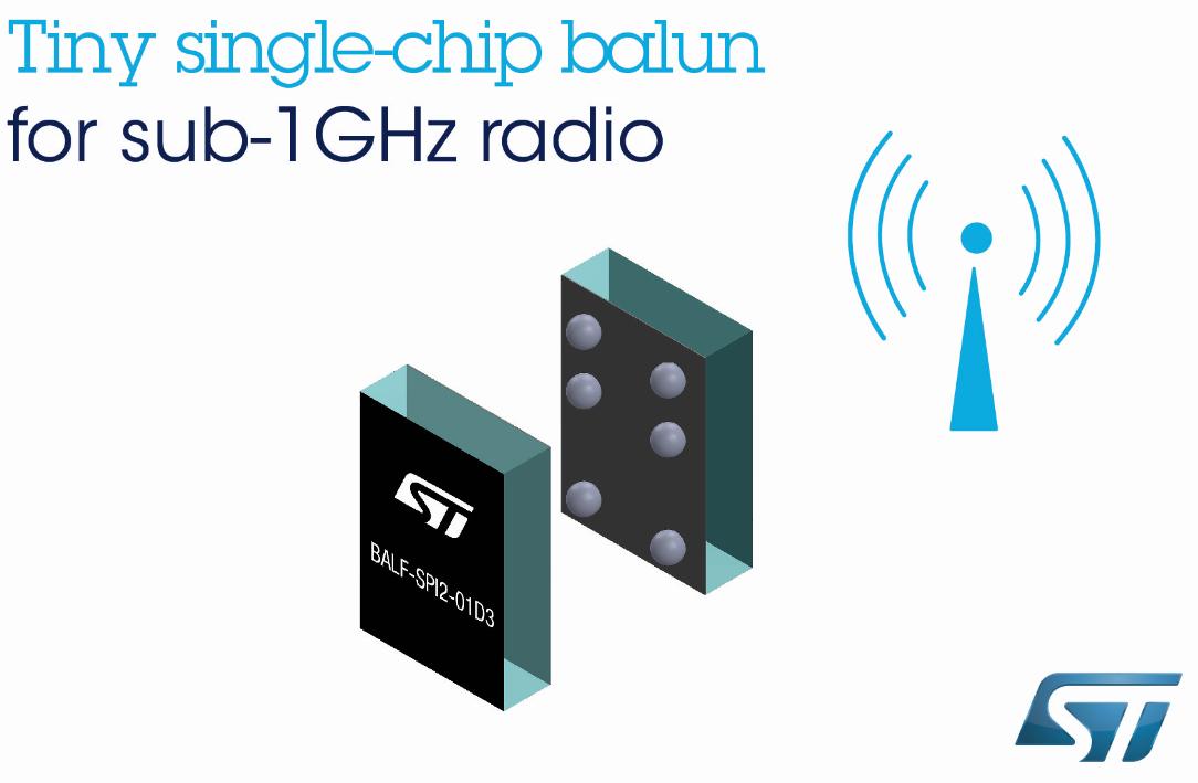 意法半导体 sub-1GHz射频收发器单片巴伦