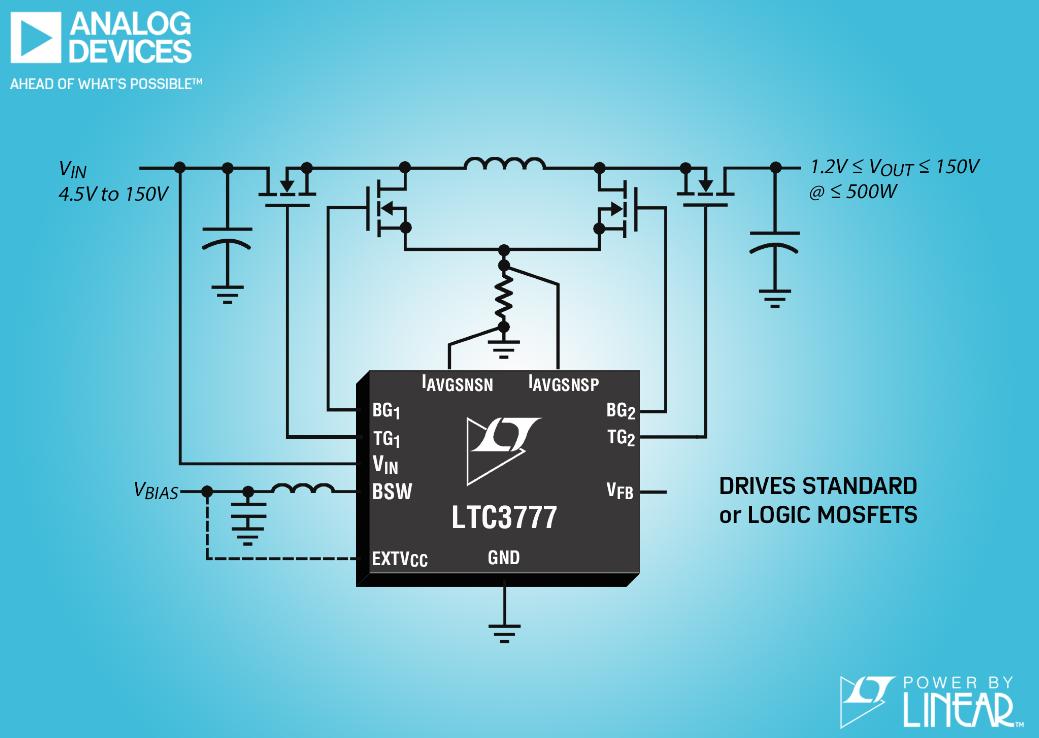 具集成化开关偏置电源的同步 4 开关降压-升压型控制器