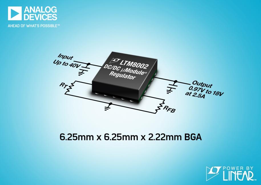 工作溫度為150°C且引腳布局符合FMEA要求的40V、2.5AμModule穩壓器