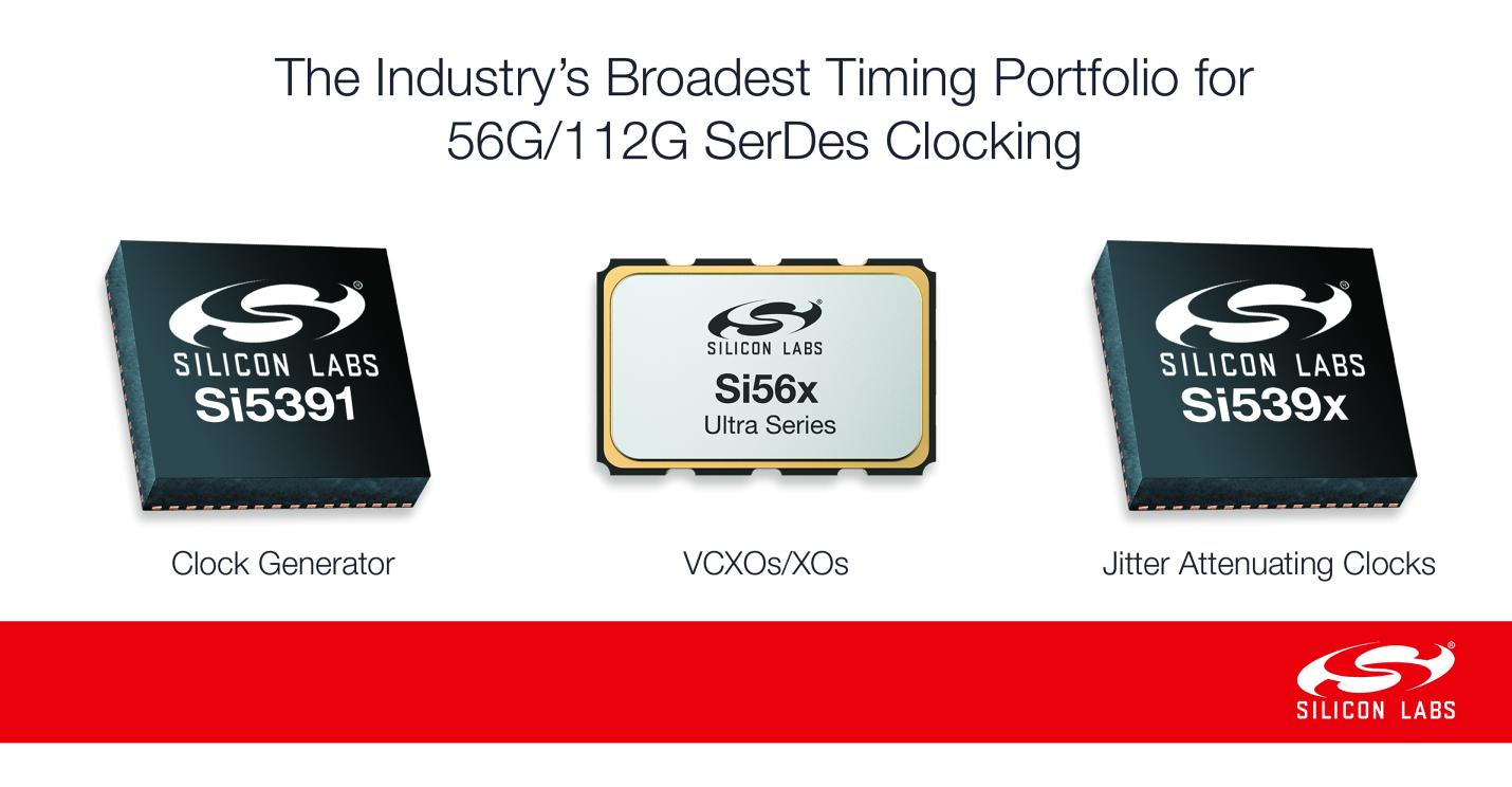 Silicon Labs发布业界最广泛的56G/112G SerDes时钟产品系列