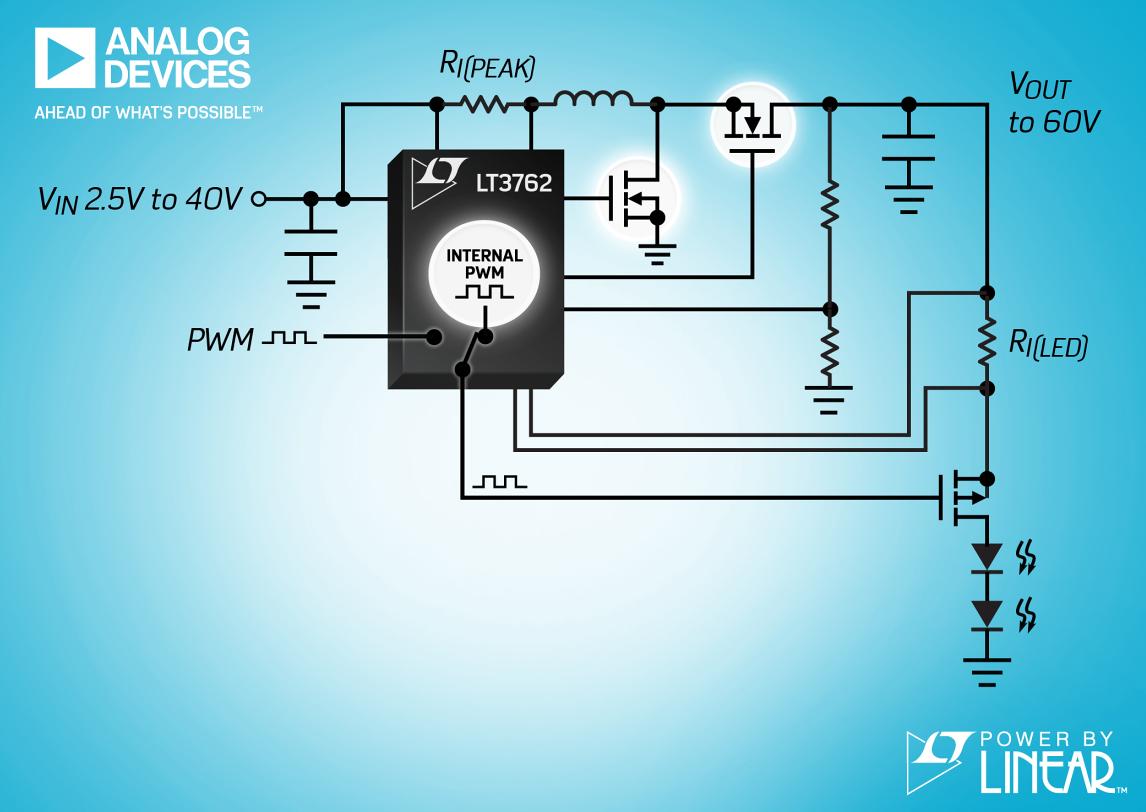 ADI宣布推出 60VOUT、同步升压型 LED 控制器