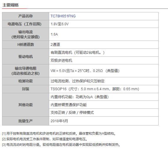 東芝推出支持1.8V低電壓和1.6A大電流驅動的H橋驅動器IC