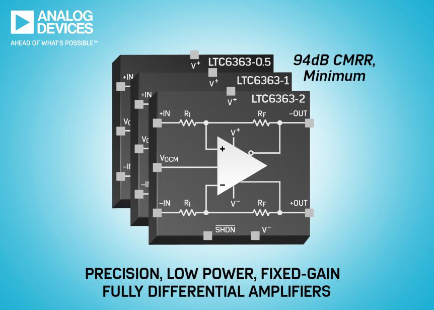 ADI发布低功耗、高精度全差分放大器