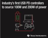 TI推出200W和100W USB Type-C™和USB电力输送控制器