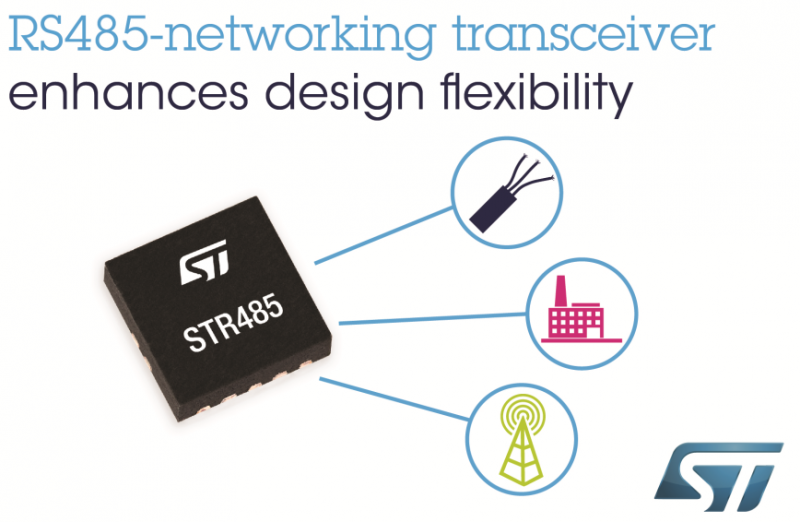 更方便、更便宜—ST推出高度灵活的RS485网络收发器
