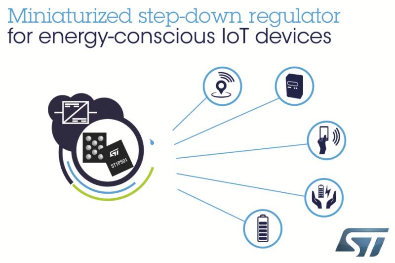 ST纳米静态电流、高能效降压转换器为物联网设备节省电能