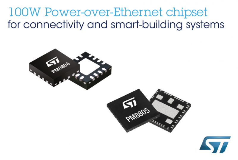 ST先进芯片组为用户提供提供新的100W以太网供电标准