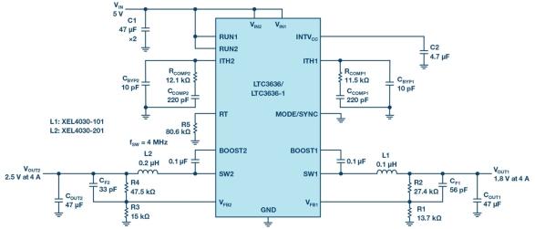 技术文章—双通道、6A降压稳压器提供高效紧凑解决方案