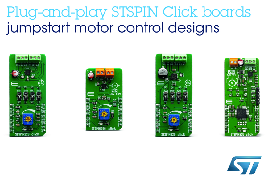 STSPIN模块为MikroElektronika的开发板加入高性能电机驱动器