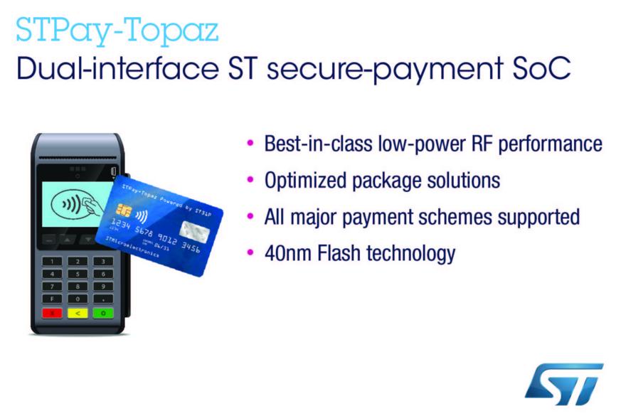 ST推出下一代支付系统芯片,提高支付性能和保护功能