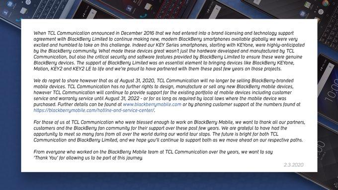 风靡全球的黑莓手机真的要消失了吗?TCL宣布今年8月底停售
