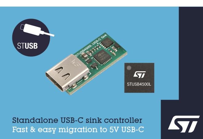 更耐用更小型,ST独立VBUS供电控制器问市
