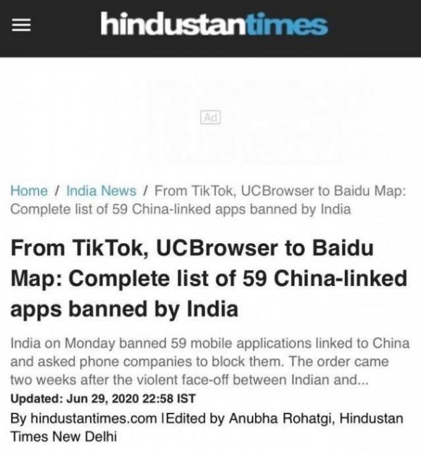 印度宣布禁用59款中国应用,TikTok、微信微博均在列