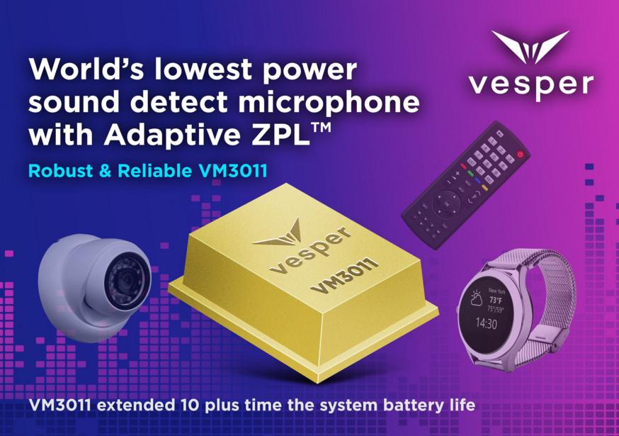 Vesper自适应零功率听觉技术器件,将电池寿命可延长10倍